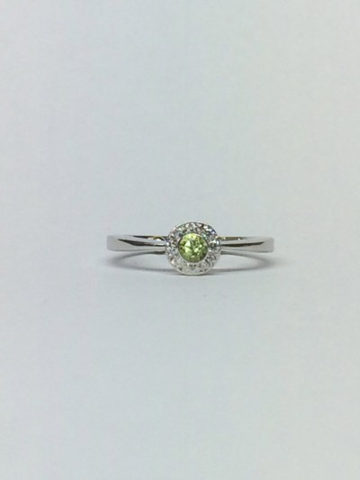 peridot /diamond engagement ring